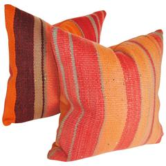 Custom Pair of Moroccan Pillows Cut from a Vintage Hand-Loomed Wool  Berber Rug