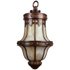 Leaded Glass and Bronze Lantern, Circa 1920
