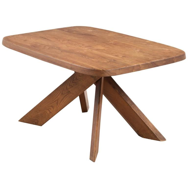 Pierre Chapo T35B Small Dining Table With Unique Natural Aged Patina
