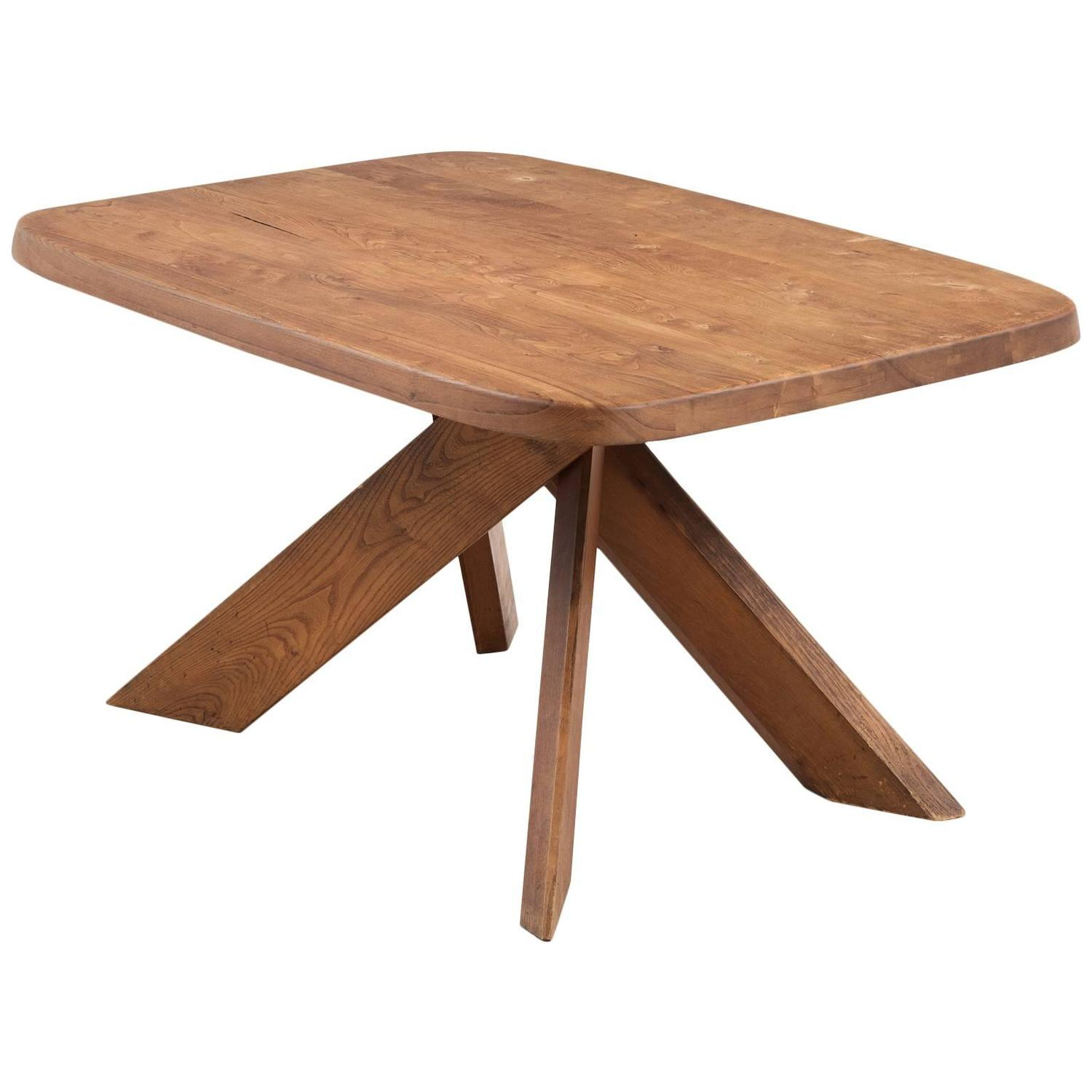 Unique Small Kitchen Tables: Pierre Chapo T35B Small Dining Table With Unique Natural