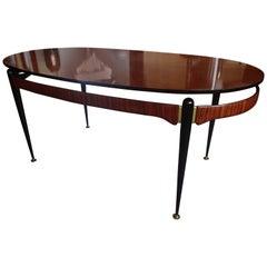 Italian Mid-Century Dining Table Rosewood Brass Black Legs