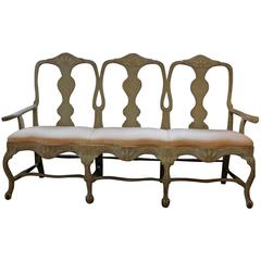 Gustavian Carved and Painted Wood Chaise, 19th Century