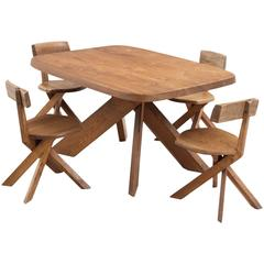 Pierre Chapo Solid Elm Dining Room Set with Four Chairs