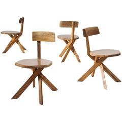Pierre Chapo Set of Four S34 Dining Chairs in Solid Elm