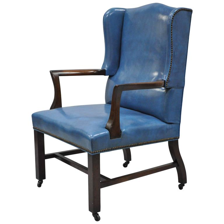 Mid 20th century blue leather office desk chair on casters for Desk chairs on sale
