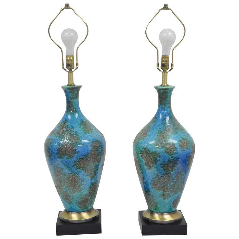 Pair of Mid-Century Italian Modern Blue Glazed Ceramic Sculptural Table Lamps