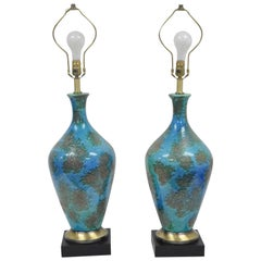 Pair of Mid Century Italian Modern Blue Glazed Ceramic Pottery Table Lamps