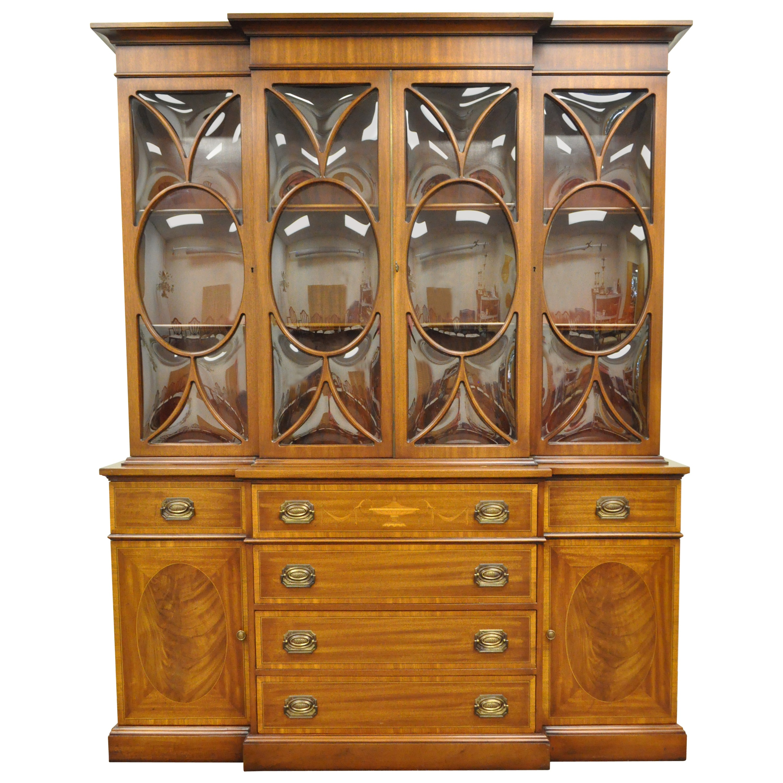 Georgian Style Bubble Glass Satinwood Inlay Mahogany Bookcase Breakfront Cabinet