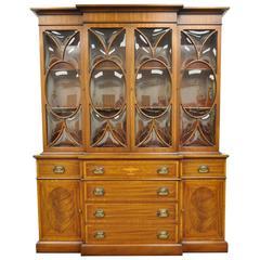 Custom Georgian Style Bubble Glass Satinwood Inlaid Mahogany Breakfront Cabinet