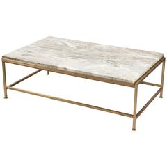 Custom Paul McCobb Brass Coffee Table With Marble Top