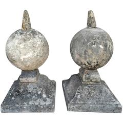Antique Pair of Carved Stone Louis XIV Finials from a Chateau Outside of Paris