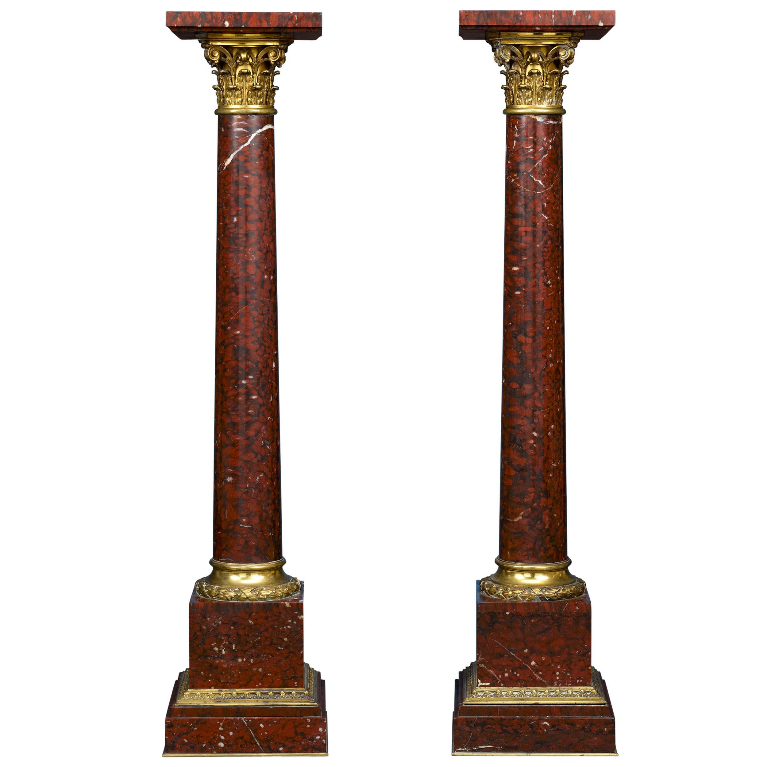 Pair of Rouge Marble Pedestals
