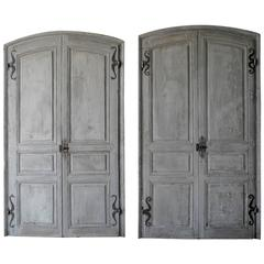 Antique Set of Two Blue 18th Century Doors with Mustache Hinges, Cote d'Azure