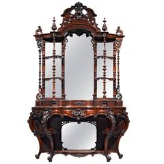 Rococo Revival Rosewood Étagère by Thomas Brooks