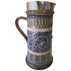 Impressive Doulton Lambeth Sterling Top Wine Jug, 1878,  by Mary Ann Thompson