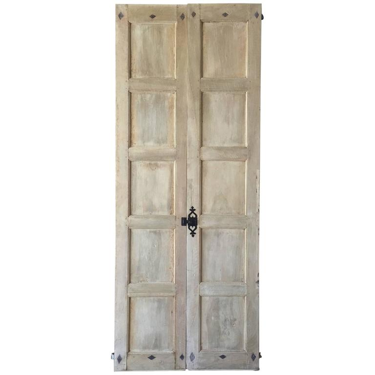 Antique Pair of Tall Walnut Doors with Original Hardware and Paneling 1
