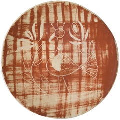 Mid-Century Modern Cubism Redware Rooster Cabinet Plate Dated 4-1948, Signed