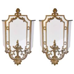 Pair of Fabulous Sterling Bronze and Company Milk Glass Sconce