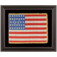 38 Star Flag with Stars in an Extremely Rare Lineal Configuration