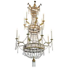 Tall 18th Century Italian Fourteen-light Crystal Chandelier from Tuscany