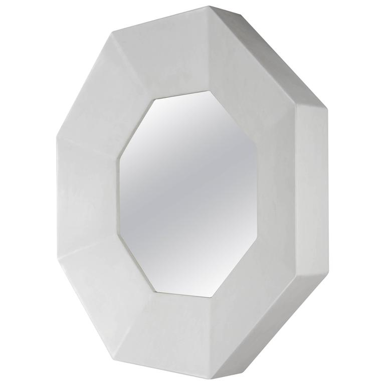 Eight Facet Mirror by Robert Kuo, Cream Lacquer, Limited Edition
