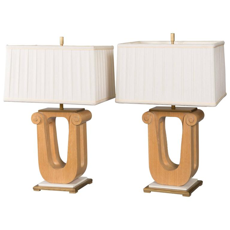 Pair of Art Deco Cerused Oak Table Lamps For Sale