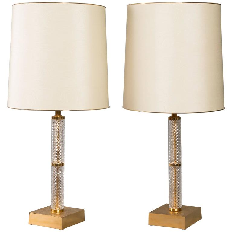 French Mid-Century Cut Crystal and Brass Table Lamps