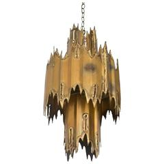 Midcentury Brutalist Torch Cut Chandelier by Tom Greene