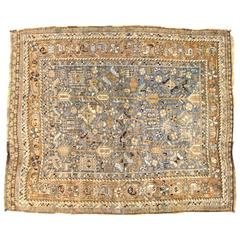 Vintage Persian Shiraz Oriental Rug, in Small Square Size, with Soft Earth Tones