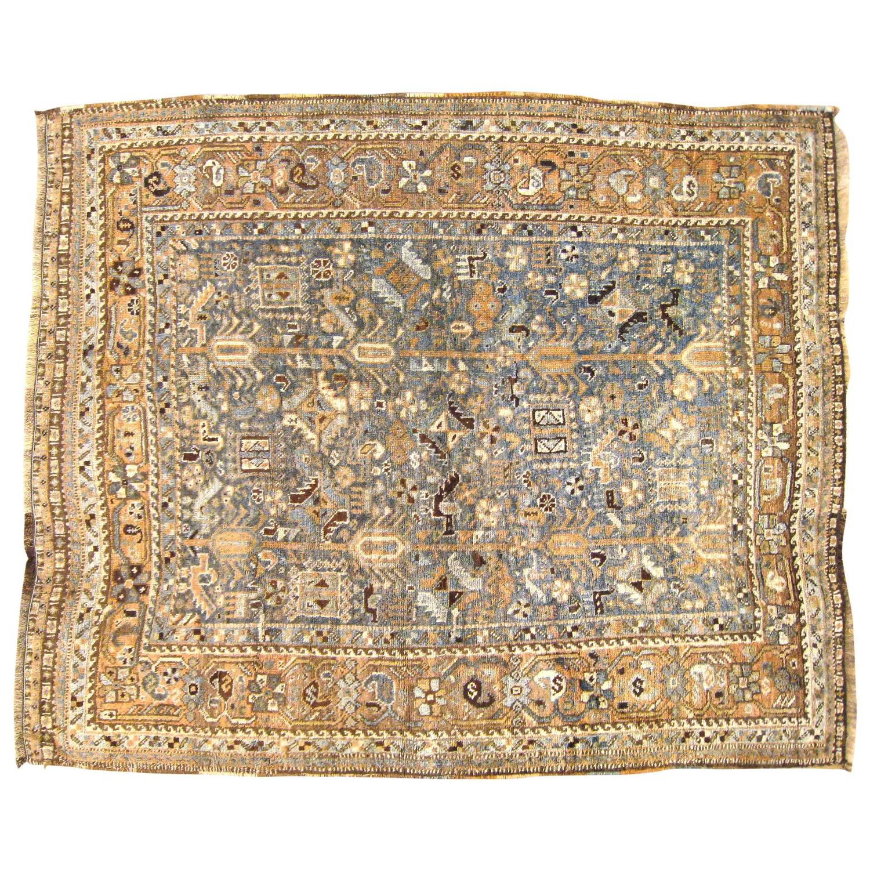 Vintage Persian Shiraz Oriental Rug In Small Square Size