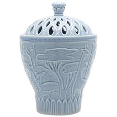 Tall Porcelain Jar in Sky Blue Glaze with Animal Details by Gunnar Nylund