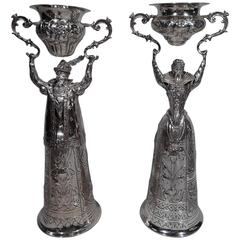 Pair of German Sterling Silver Wedding Cups in Form of Renaissance Man & Woman