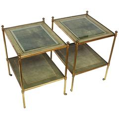 Pair of Baguès Tables with Inset Bookmatched Shagreen
