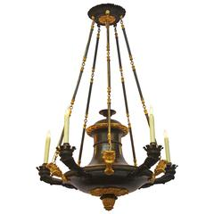 French Empire Patinated and Gilt Bronze Five-Arm Argon Chandelier
