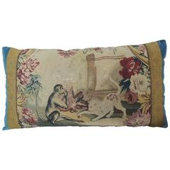 18th Century Aubusson Tapestry Large Bolster Decorative Pillow