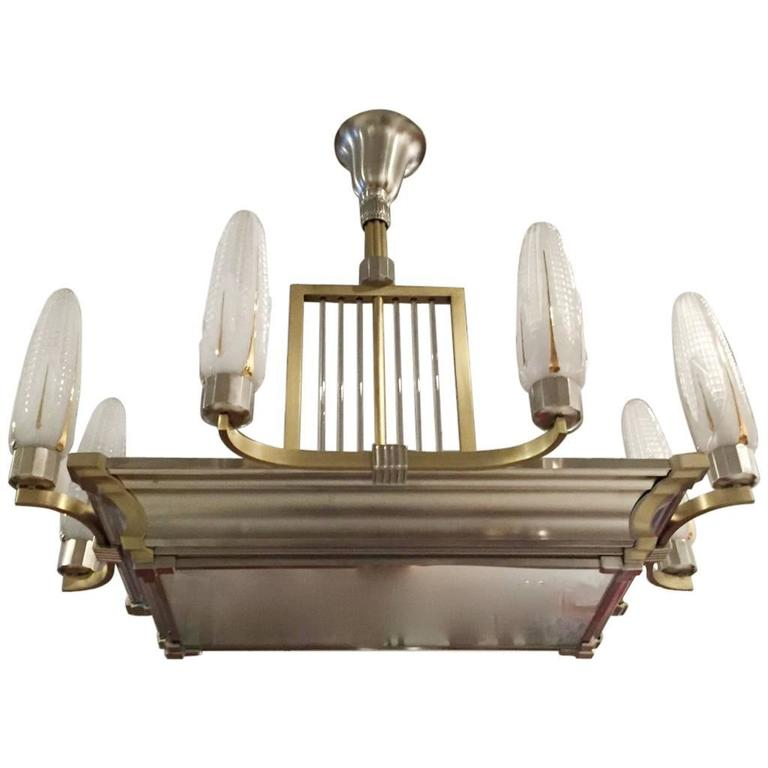 French Art Deco Brass and Nickel Chandelier