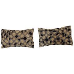 Pair of African Velvet Raffia Lumbar Pillows
