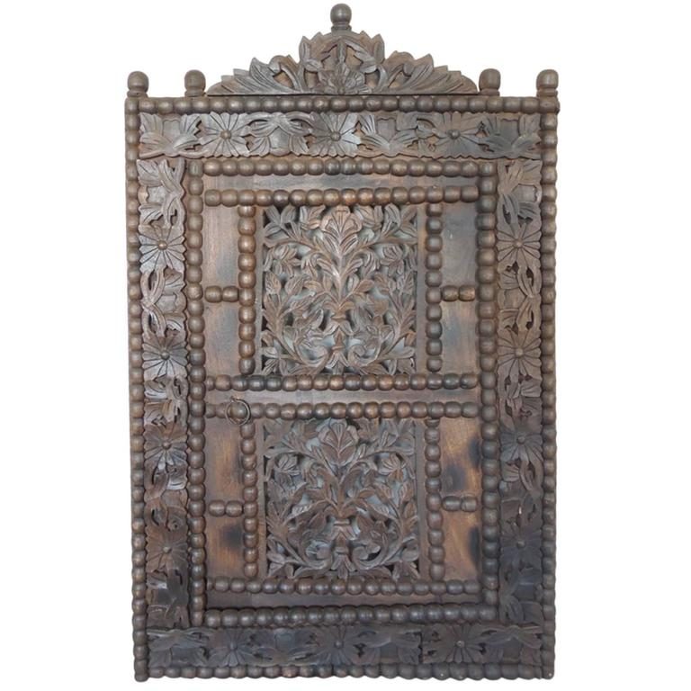 Large Asian Antique Carved Wood Window With Door At 1stdibs