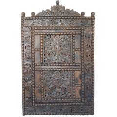 Large Antique Carved Wood Window with Door