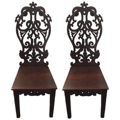 1950s Carved Haitian Wood Side Chairs