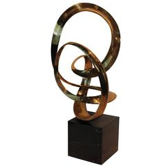 Tom Bennett Modernist Ribbon Brass Sculpture