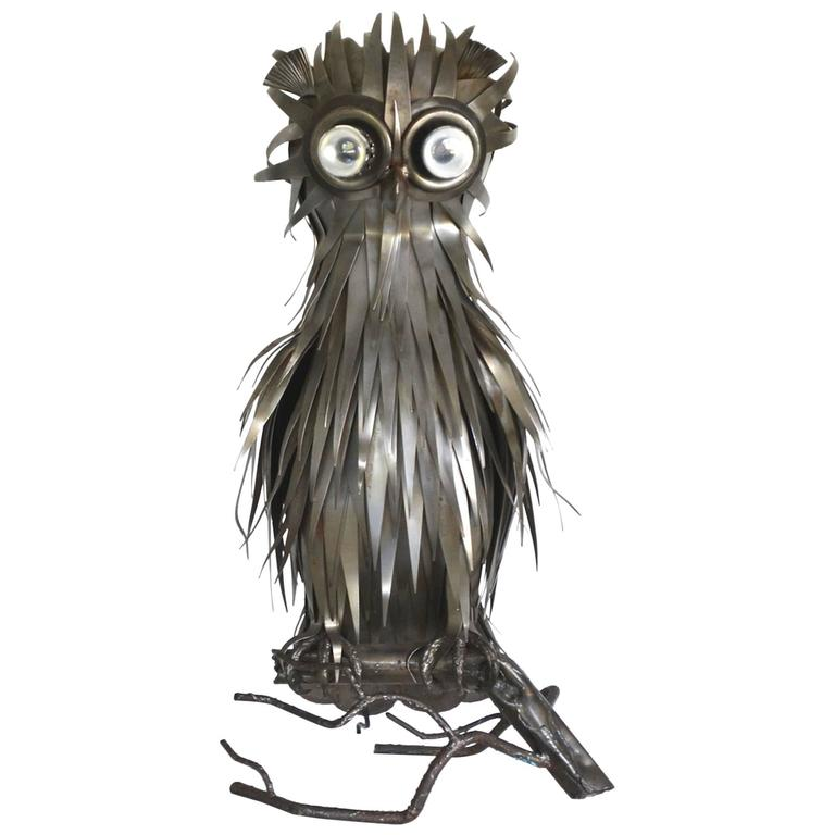 Midcentury Brutalist Inspired French Sculptural Owl Form Table Lamp by Jarry