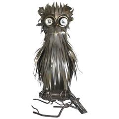 Mid-Century Brutalist Inspired French Sculptural Owl Form Table Lamp by Jarry