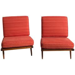 Pair of George Nakashima Walnut Lounge Chairs