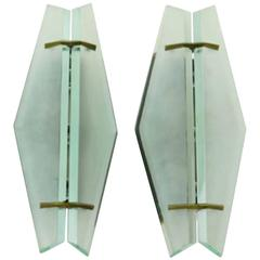 Pair of Sconces by Max Ingrand for Fontana Arte, Italy, circa 1961