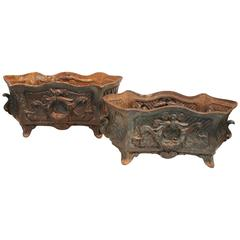Pair of 19th Century French Cast Iron Planters