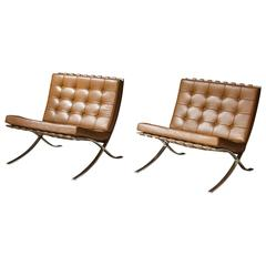 "Pair of Vintage ""Barcelona"" Chairs by Ludwig Mies Van Der Rohe for Knoll"