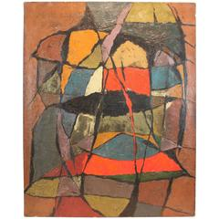 Mid-Century Modernist Abstract Oil on Canvas