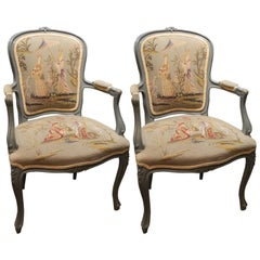 Pair of Louis XVI Style Painted Chairs with Needlepoint Tapestry, 20th Century