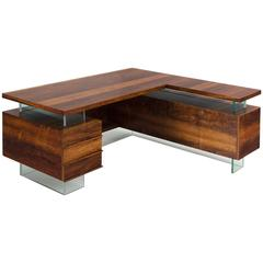 French Desk in Rosewood and Glass